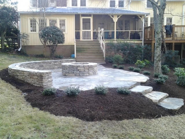 Stone Outdoor Seating Area With Steps