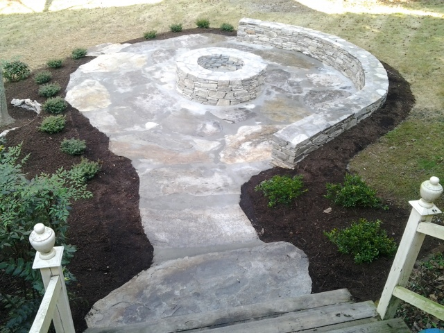 Overhead View Stone Outdoor Seating Area With Sitting Wall