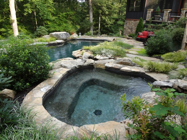 pool and jacuzzi tryon and landrum landscaping. Black Bedroom Furniture Sets. Home Design Ideas